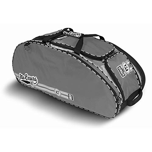 No Errors Dinger II Baseball Bat Bag - Heavy Duty Youth Baseball and Softball Bag with Hideaway Fence Hooks and Wheels - Holds 4 Bats, Gloves, Helmet and Cleats (Graphite)