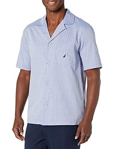 Nautica Men's Short Sleeve 100% Cotton Soft Woven Button Down Pajama Top, Blue (WS90S7), Large