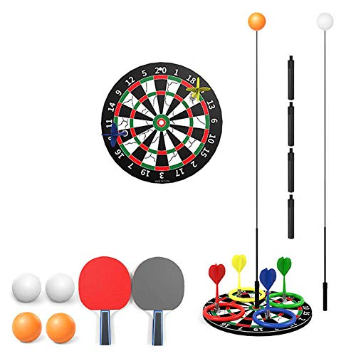 wisedwell Tischtennistrainer Set mit Elastischem eine Person kann auch Soft Shaft Freizeit Dekompressions Dart Ring Set Tischtennis Set Multifunktion Abnehmbar Anti-Myopie Tischtennis-Übungsball