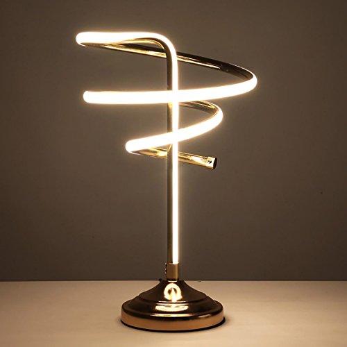 XINYE LED Spirale Lampe de bureau Or Prendre soin des yeux Lampe de table Bureau Chambre Lumières de lecture, 37W, Nature Light