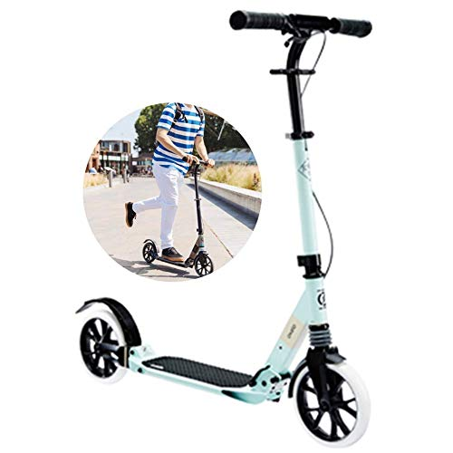 Ygqtbc Adulto Kick Scooter w/Freno de Mano - 220lb Límite de Peso - se pliega hacia Abajo - Manillar Ajustable - Smooth & Fast Ride (Color : Green)