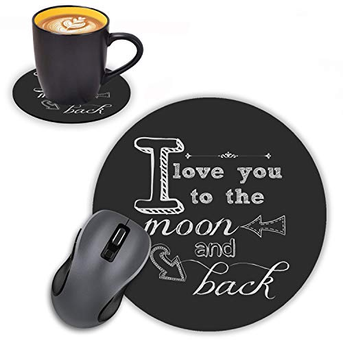 Log Zog Round Mouse Pad with Coasters Set, Chalkboard Black White Art,I Love You to The Moon and Back Design Mousepad Non-Slip Rubber Gaming Mouse Pad for Computers Laptop