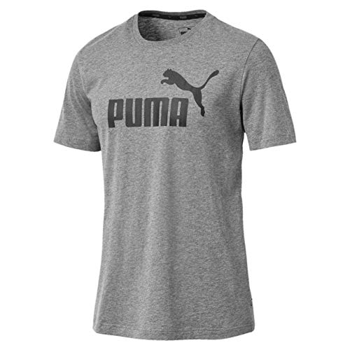 PUMA Herren T-Shirt Essentials Tee – Casual Baumwoll-Shirt mit geripptem Rundhals-Kragen Logo Essentials Tee Medium Gray Heather 3XL
