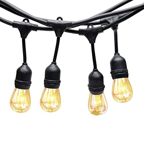 Generalman Dimmable Outdoor String Lights,48ft Festoon Lights,Outside Decorative Lights for Garden Patio Wedding Party,Festive Lamps,Weatherproof Hanging Lighting-Black