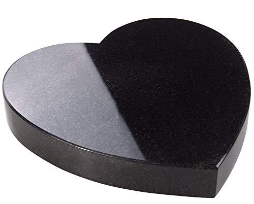 Granit Herz glatt - Grabplatte Grabstein Grabkissen Urnengrabstein Liegegrabstein 25x25x4cm Rund Farbe Jet Black (ohne Gravur)