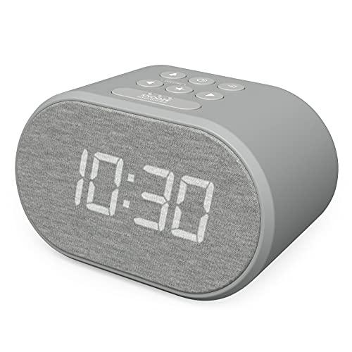 Radiosveglia Digitale da Comodino con Radio FM e Caricatore USB, Sveglia Digitale con Doppio Allarme, Funzione Snooze (Grigio)