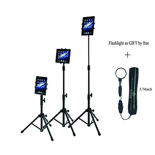 Ipad Floor Stand, Raking Height Adjustable 30 to 60 Inch Tablet Tripod Stand Mount For Ipad ,Ipad Mini and Others Within 7-10 Inch, Carrying Case Includeed and Flashlight As Gift By Free