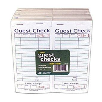 Adams SA540A Guest Check With Stub ( 50 Checks Per Pad)