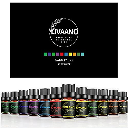 LIVAANO Natural 100% Pure Essential Oils - Pack of 12, 5ml Diffuser Oil - Essential Oil Set - Aromatherapy Oil - Fragrance Oil - Cinnamon Oil for Lips - Skin & Hair Care Essential Oil