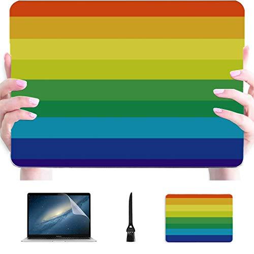 Estuche para computadora portátil de 15 Pulgadas Rayas Multicolores Textura de Arco Iris Plástico Carcasa rígida Compatible Mac Air 13'Pro 13' / 16'Estuche para Macbook Pro Cubierta Protectora para