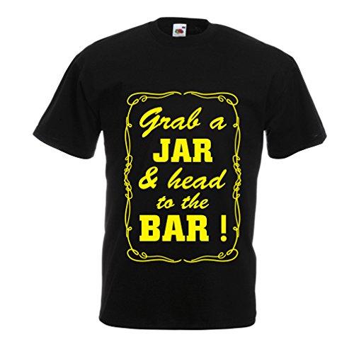 lepni.me N4524 Camiseta Grab a Jar and & Head to The Bar! (Small Negro Amarillo)