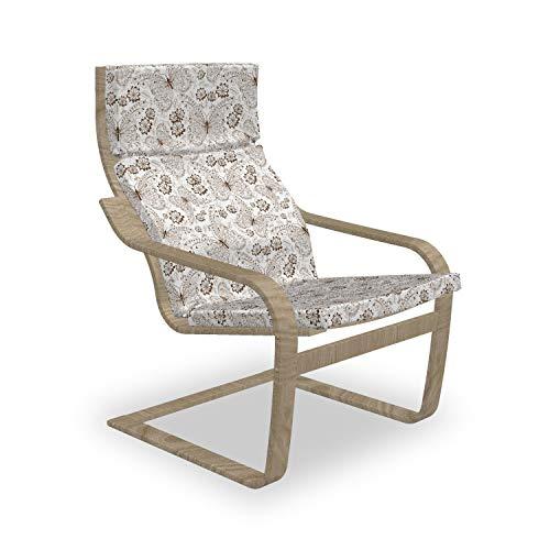 ABAKUHAUS Botanisch Poäng Sessel Polster, Botanische Gezeichnet von Hand, Sitzkissen mit Stuhlkissen mit Hakenschlaufe und Reißverschluss, Dunkle Palisander und Weiß
