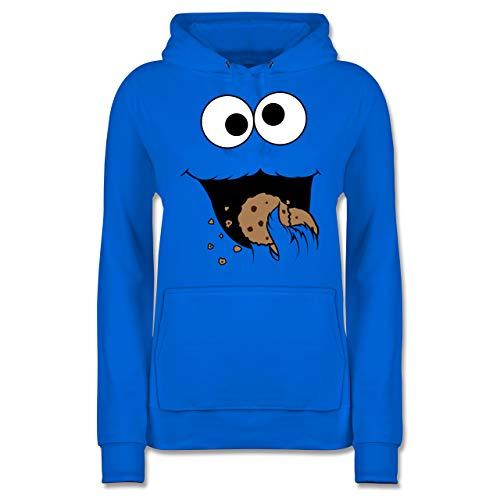 Karneval & Fasching - Keks-Monster - M - Himmelblau - Pullover Royalblau - JH001F - Damen Hoodie und Kapuzenpullover für Frauen