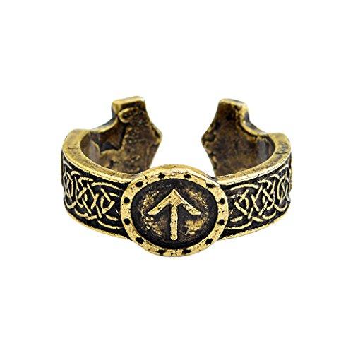 Joocyee Vintage Nordic Poetry Kyle Viking Runic Rings Hombres gótico Celibatarian Jewelry, Norse Mythology Celtic Runavin Anillo único, Oro