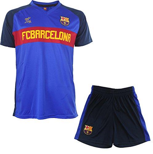 FC Barcelona - Conjunto oficial de camiseta y pantalones cortos para niño, diseño del FC Barcelona Azul azul marino Talla:8 años