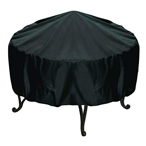 GFPR Patio Fire Pit Cover Round - Waterproof Windproof Anti-uv Heavy Duty Gas Firepit Furniture Table Covers, Black