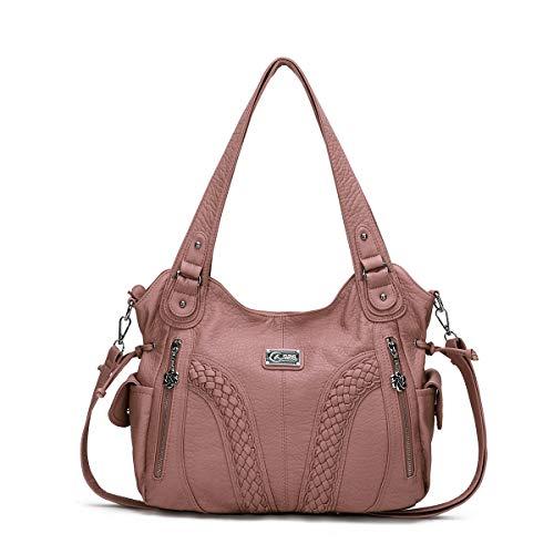 KL928 Handtasche Damen Taschen Umhängetaschen Damenhandtasche Schultertaschen Henkeltaschen Hobo Tasche Weiches PU Leder Kunstleder Damentasche für Frauen (1555-Pink)