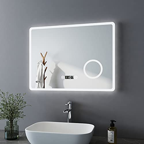 Bath-mann LED Badspiegel 80x60cm mit Beleuchtung Kaltweiß Badezimmerspiegel Spiegel mit Touch Lichtschalter, 3X Vergrößerung Lupe Schminkspiegel, Beschlagfrei, Uhr, Wandspiegel Horizontal