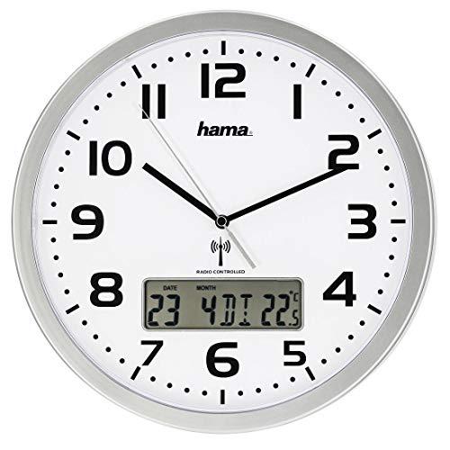 Hama Funk-Wanduhr digital (große Funkuhr mit analoger Zeitanzeige, Wanduhr mit digitaler Kalender- und Temperaturanzeige, inkl. Batterie) silber