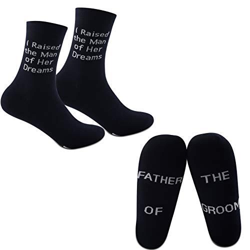 MYSOMY Calcetines de padre de la novia para padre del novio regalos de padre en la ley calcetines regalo de boda de hijo en ley hija en ley