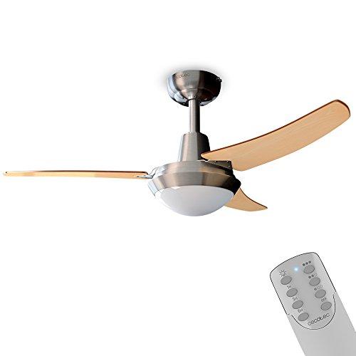 Cecotec Ventilador de Techo EnergySilence Aero 480. 65 W, 106 cm de Diámetro, Lámpara integrada, 3 Aspas Reversibles, 3 Velocidades, Temporizador, Función invierno, Acabado en madera nogal y haya