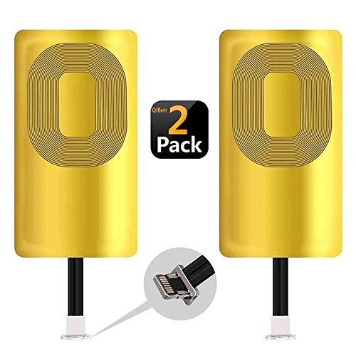 2 Pack QI Receiver Wireless Charging Receiver for iPhone 7 7 Plus 6 6 Plus 6s 6s Plus 5 5s 5c  SE Ultra-Slim iPhone Wireless Receiver 5W 1000mAh QI Charging Receiver iPhone (2PCS)