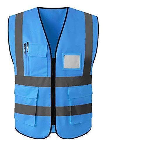 Veiligheidsvest,Reflecterend vest,Reflecterend veiligheidsvest,Reflecterende veiligheidsvest met zakken Bedrijfskleding Hi vis jasje (Color : Blue, Size : L chest112)