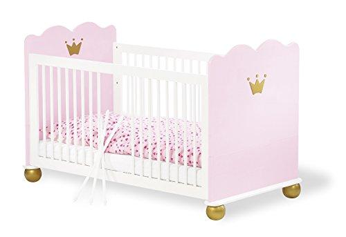Pinolino - 111655 - Kinderbett Prinzessin Karolin - Babybett aus massiver Fichte (140 x 70 cm) mit 3 Schlupfsprossen