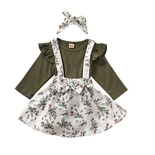 Kleinkind Säugling Baby Mädchen Straps Rock Prinzessin Kleid Strampler Haarband Outfits A196