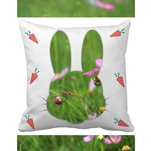 OFFbb-USA - Funda cuadrada para cojín, diseño de flores y conejos, color rosa