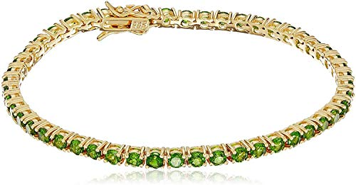 18K Yellow Gold-Plated .925 Sterling Silver Genuine Chrome Diopside Tennis Bracelet, 7