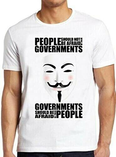 V For Vendetta Anonymous Mask Government Vintage tee T Shirt
