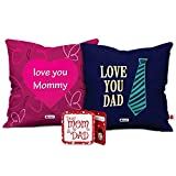 Indigifts Mom Dad Love You Mommy & Love You Dad Multi Cushion Cover