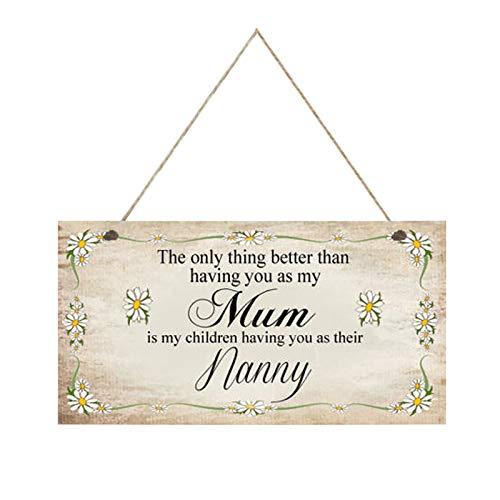 Placa colgante de madera hecha a mano para mamá Loving Thoughtful Presente 20,3 x 10,2 x 0,5 cm, placa colgante de madera para el día de la madre