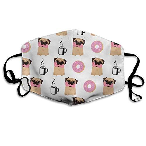 Dust-Proof Cover,Vektor Hunde Mops Donut Kaffee Gesichtsschutz, Waschbare Gesichtsdekoration Für Walking Wandern Joggen,18x11cm