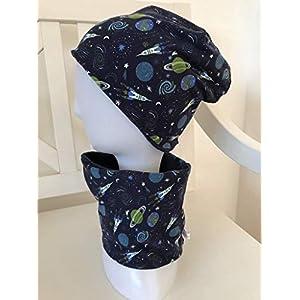Beanie Set Loop Kinder Weltall Weltraum Planeten Mütze blau Jungen