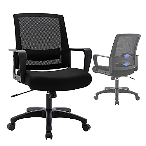 STARSPACE Mesh Office Chair with Adjustable Lumbar Support, Thicken Wide Seat Mid-Back Computer Desk Chair Adjustable Height Swivel Base Swing Modern Task Chair for Home Office Conference Room, Black