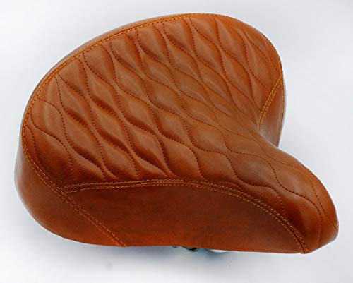 """Fito Oversize 10.5"""" x 9.5"""" Synthetic Leather Retro Beach Cruiser Comfort Bike Seat Saddle (GW-Brown)"""