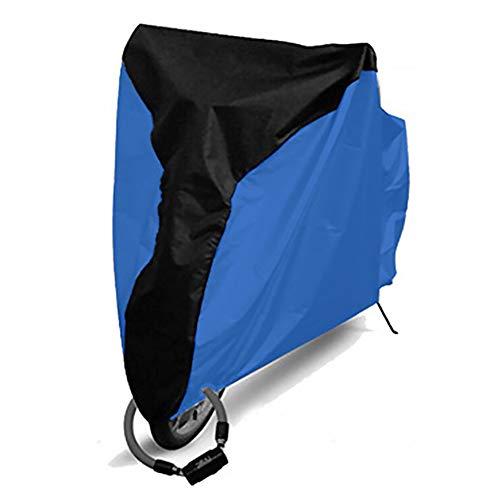 YYWJ Cubierta impermeable para bicicleta al aire libre 20'-29' cubierta de bicicleta 210D tela de poliéster impermeable con revestimiento de plata de la lluvia del sol UV a prueba de viento para bicicleta de montaña, bicicleta de carretera, No nulo, Negro medio + azul oscuro., Large