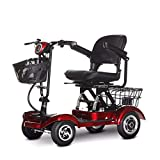 TTFC Plegable Scooter Eléctrico,Scooter Eléctrico de 4 Ruedas, Plegable, Motor De 350 W, 20Km/h, Adecuado para, Personas con Movilidad Reducida, Discapacitados, Desmontable 30km