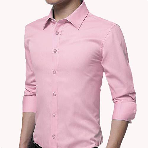 GSS-CY Camicia Casual da Uomo a Maniche Lunghe Tinta Unita da Uomo D XXL