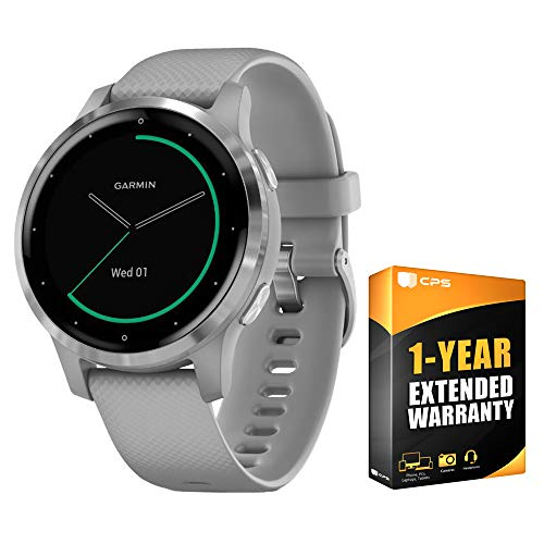 Garmin 010-02172-01 Vivoactive 4S Smartwatch Powder Gray/Stainless Bundle with Support Extension