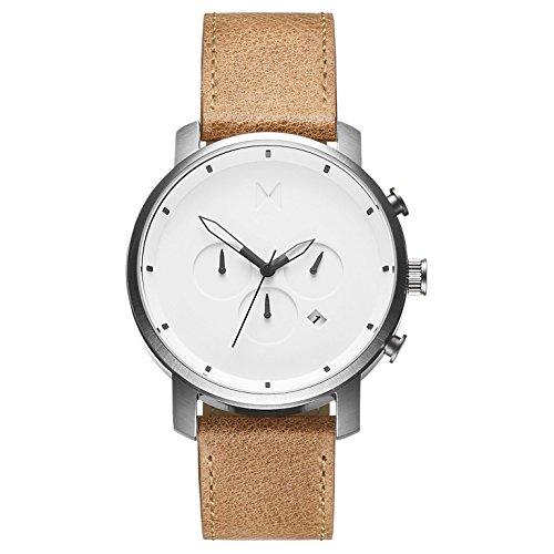 MVMT Herren Chronograph Quarz Armbanduhr mit Lederarmband D-MC01-WT