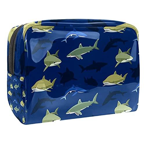 Kosmetiktasche Unterwasserhai Kulturbeutel Reise Make Up Tasche wasserdichte Organizer Multifunktions für Make-up Pinsel Lidschatten Lippenstifte 18.5x7.5x13cm