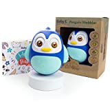 BABY K Penguin Weeble Wobble Toys (Blue) - Tummy Time Wobbler for Montessori Babies - Musical Roly Poly Toy - Shakes, Rolls and Jingles - Developmental Toys for Newborn Infants 3-6, 7- 9, 12-18 Months