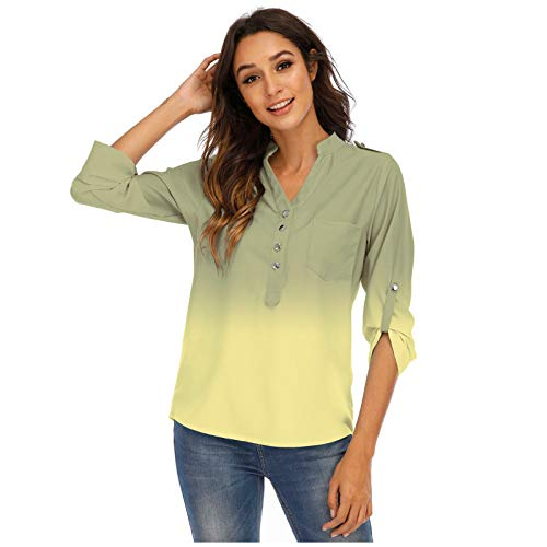 Aniywn Women Tie-Dye Print T-Shirt Casual Loose Plus Size Button V-Neck Long Sleeve Tunic Tops Work Office Tops Yellow