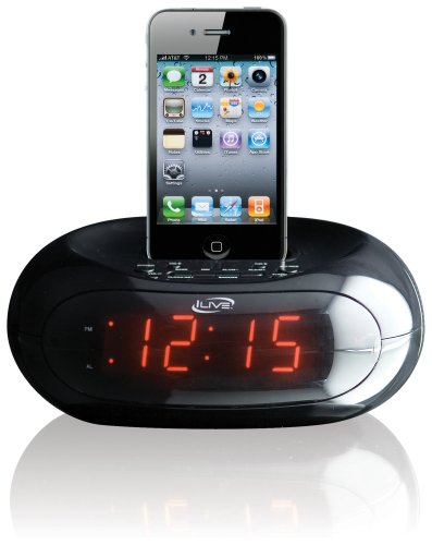 iLive iCP131B Clock Radio with Dock for iPhone/iPod, 20 FM Presets and 0.9-Inch Red LED Display
