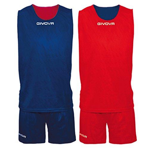 givova Double, Kit Basket Uomo, Blu/Rosso, L