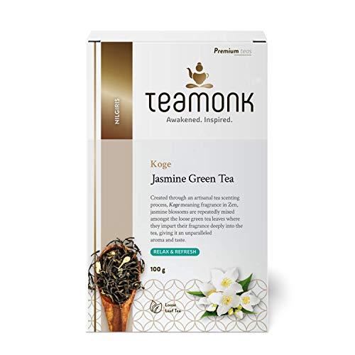 Teamonk Koge Nilgiri té verde de jazmín (50 tazas)   té para la relajación   té refrescante   té natural de jazmín   té de flores   hojas sueltas   sin aditivos - 100g