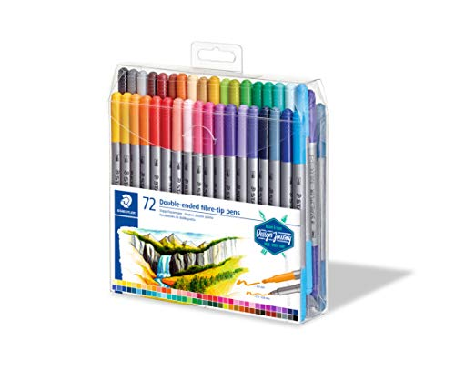 Staedtler Feutres à double pointe pour écriture et coloriage, Pointe fine de 0.5-0.8 mm et pointe compacte extra-large de 3 mm, Étui plastique avec 72 couleurs lumineuses différentes, 3200 TB72